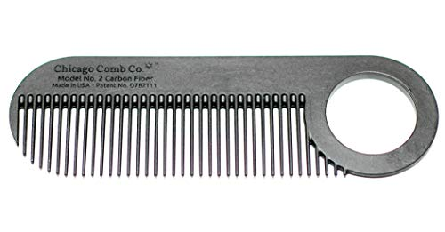 Chicago Comb Model 2 Carbon Fiber, Made in USA, Anti-static, 4 inches (10 cm) long, Fine-tooth, Pocket & Travel comb, for Thinner Hair, Beard & Mustache comb
