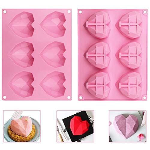 WENTS Schokoladenformen, Herzform 6 Gitter Silikon 3D Diamant Süßigkeits-Formen-Behälter für Kuchen verzieren, Backen, Süßigkeiten Machen, Schokolade, Cupcake, 2pcs