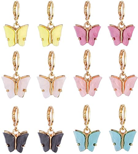 KONGWU 6 Colores Pendientes de Gota de Mariposa Diminuto Dainty Mini Mariposa aro Aros Set Amazing