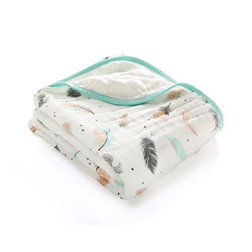 Musselin Decke Babydecke Baumwolle zweilagig 120X150CM Feder Flamingo für Mädchen Junge