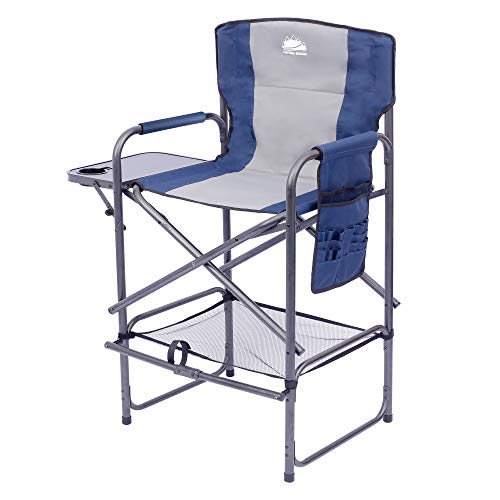 Coastrail Outdoor Tall Directors Chair Supports 400 lbs Foldable Bar Height Makeup Artist Heavy Duty with Back Pocket & Footrest, Durable Steel Frame with Side Table & Brush Bag