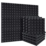 DEKIRU 12 Pack Acoustic Foam Pyramid Sound Proof Foam Panels Sound Proofing Padding for Wall, 2' X 12' X 12' Fireproof Sound Absorbing Wedge Tiles, Acoustic Treatment for Home Office Studio with Tape