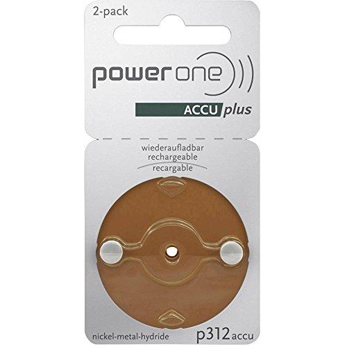 Powerone Accu Plus Wiederaufladbare Hörgeräte Batterien Größe 312 - Packung mit 2
