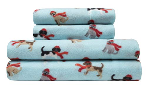 Elite Home Ultra-Soft Winter Nights Collection Microfleece Sheet Set, Winter Tails Sky, Full