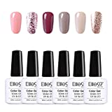 Elite99 Esmaltes Semipermanentes de Uñas en Gel UV LED, 6pcs Kit de Esmaltes de Uñas de Color Nude...