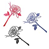 ASFINS Marcadores de Vintage, Marcapáginas de Metal Marcapaginas Originales, para Libro Papelería de Lectura, Forma de Rosa, 3 colores (Rojo, Azul, Negro), 13 x 6cm