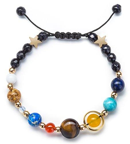Product Image 2: Fesciory Women Men Solar System Bracelet Universe Galaxy The Eight Planets Guardian Star Natural Stone Beads Bracelet Bangle(Blue Sandstone(Adjustable))