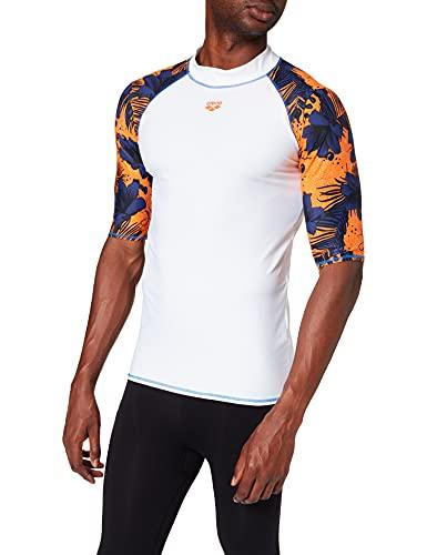 ARENA M Rash Vest S/S Allover, Maglia a Maniche Corte da Uomo, con Protezione UV, Bianco/Floreale Multi, XL