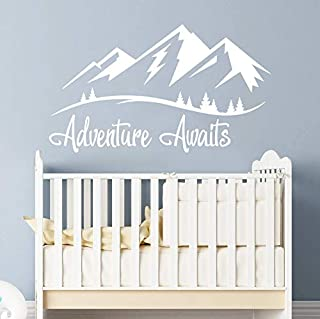 Adventure Awaits Wall Decal/Mountain Wall Decal Nursery/Wanderlust Baby Nursery Decal Vinyl Sticker/Mountains Wall Decal Nursery Boy Room Wall Decor Baby Boy Room Wall Decals vs85