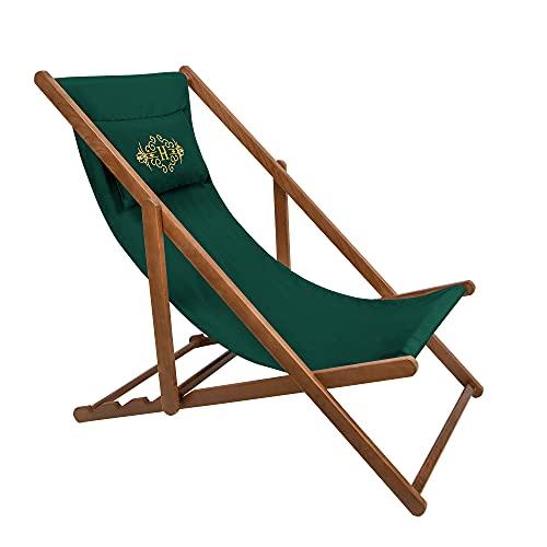 Holtaz Premium Sdraio Legno Giardino Sedia da Spiaggia Prendisole Pieghevole 4 Posizioni con Tessuto Sfoderabile e Cuscino per Piscina Bar Spiaggia Caffè Alberghi fino a 130 kg Logo verde