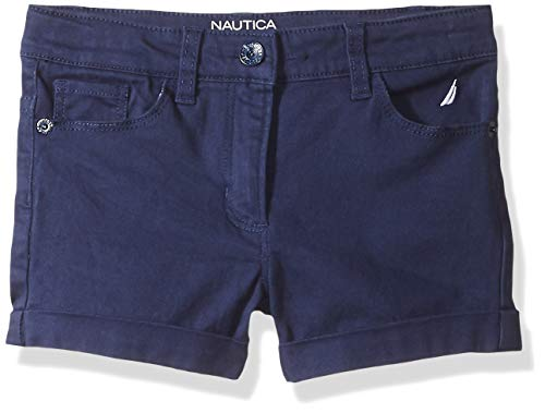 Nautica Toddler Girl's Girls' Solid Woven Short Shorts, twill navy, 3T