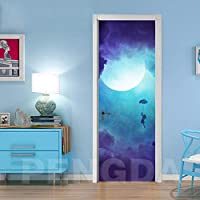 ZWYCEX ドアステッカー リビングルームのためのDIYのドアを印刷環境保護ムン・ガールホームデコレーションステッカー自己接着PVC防水3Dアート紙 (Sticker Size : 95x215cm)