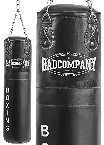 Bad Company Boxsack inkl. Heavy Duty Vierpunkt-Stahlkette I Leder Punching Bag, ungefüllt I 80 x 35 cm - Schwarz