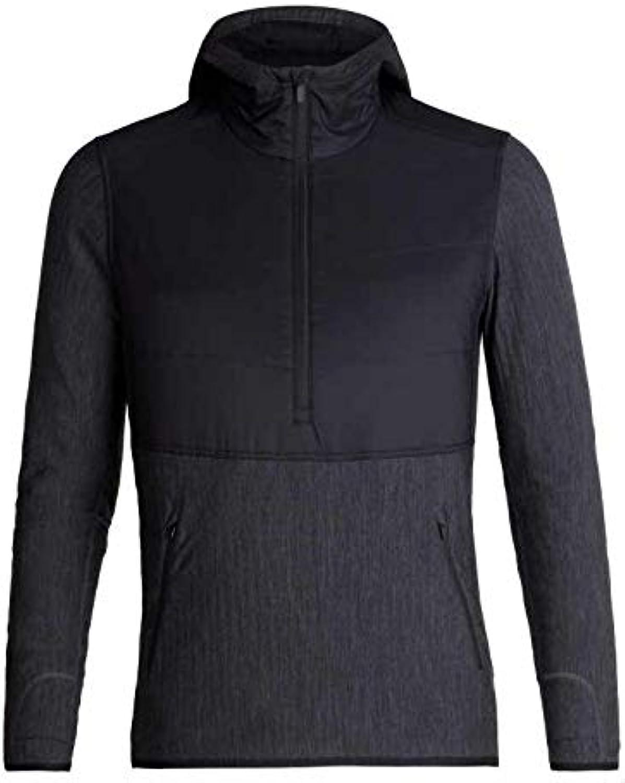 Icebreaker Merino Descender Hybrid Long Sleeve Half Zip Hoodie, Zealand Merino Wool