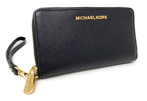 Michael Kors Jet Set Travel Flat Multifunción Smartphone Case/Soporte de muñeca (negro)