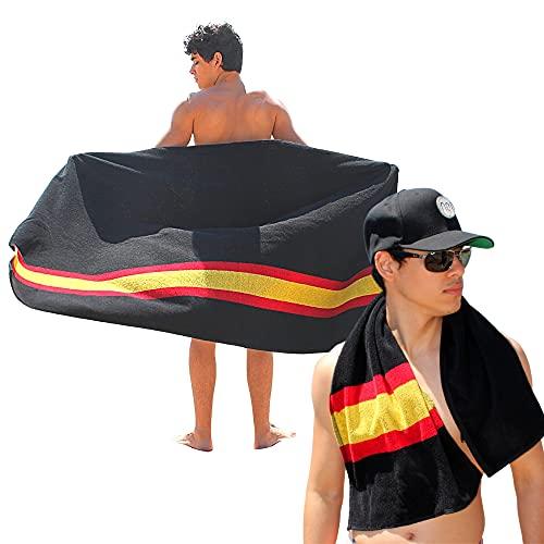 noi Toalla de Playa Grande + Toalla de Gym. 100% algodón. Bandera de España (Negra) 2 Piezas de Diferente tamaño.