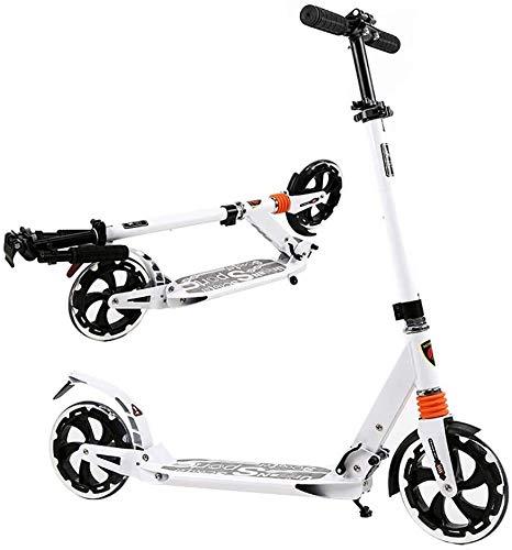 LYC Patinete portátil para adultos con ruedas grandes, plegable, para viajeros, regalos de cumpleaños para niños de 8 años y más, soporte de 150 kg, no eléctrico (color: blanco)