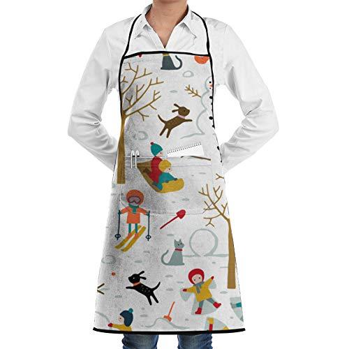 Frftgxcdf Delantal de bolsillo Fun At The Park On A Snow Day, delantal de cocina, delantal de barbacoa, delantal de barista, delantal de cintura de camarera, delantal de parrilla personalizado
