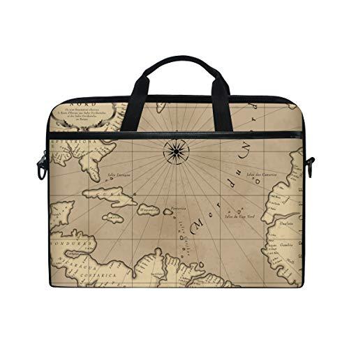 BEITUOLA 15-15.4 Zoll Laptop Taschen,Alte geografische Karte Atlantik Region,Verschiedene Muster multifunktionale Laptop Tasche tragbare Hülle Aktentasche Umhängetasche