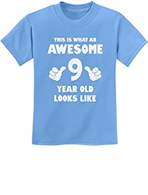 TeeStars - This is What an Awesome 9 Year Old Looks Like Youth Kids T-Shirt Medium California Blue