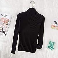 2021春と秋のユニバーサルファッションセクシー セーター女性2020秋冬プルオーバーセーターソフトストレッチリブニットセーターモックネックベーシックカジュアルニットトップス オールマッチ婦人服の様々な種類 (Color : Black, Size : One Size)
