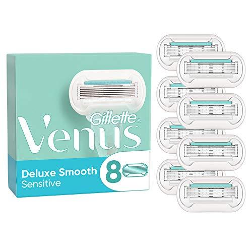 Gillette Venus Deluxe Smooth Sensitive Rasierklingen Damen (8 Rasierklingen), 5 Klingen für eine länger anhaltende, glatte Rasur, aktuelle Version