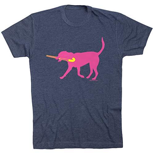 ChalkTalkSPORTS T-Shirt Short Sleeve Fetch The Field Hockey Dog T-Shirt | Field Hockey Tees Navy | Adult Small