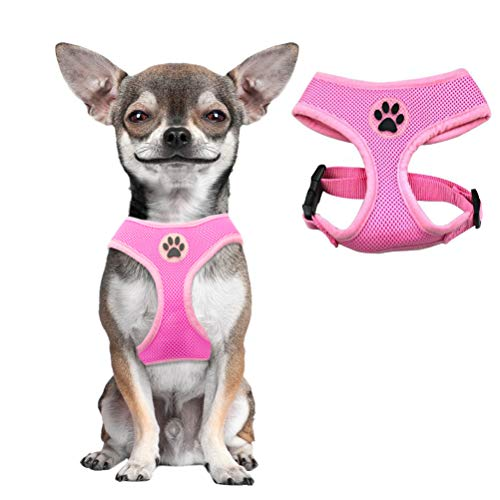 BINGPET Soft Mesh Dog Harness Pet Walking Vest Puppy Padded Harnesses Adjustable, Pink Extra Small