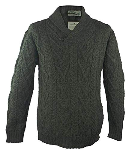 Shawl Collar Aran Sweater Green,X-Large