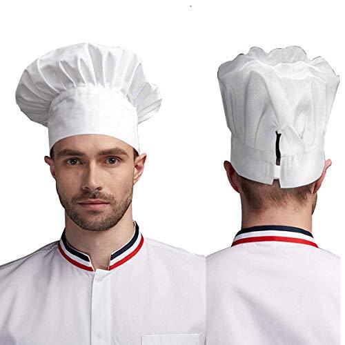 auvstar Kochmütze für Erwachsene, verstellbar, elastisch, für Küche und Koch (Weiß)