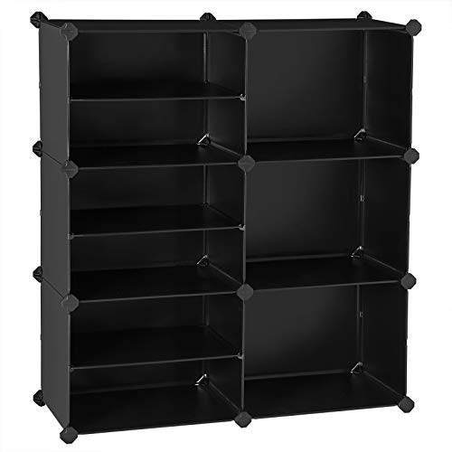 SONGMICS Cube Storage Organizer, Interlocking Plastic Cubes with Divider Design, Modular Cabinet, Bookcase, Closet Bedroom Kid's Room, Includes Rubber Mallet, 32.7 x 12.2 x 36.6 Inches, Black ULPC36H
