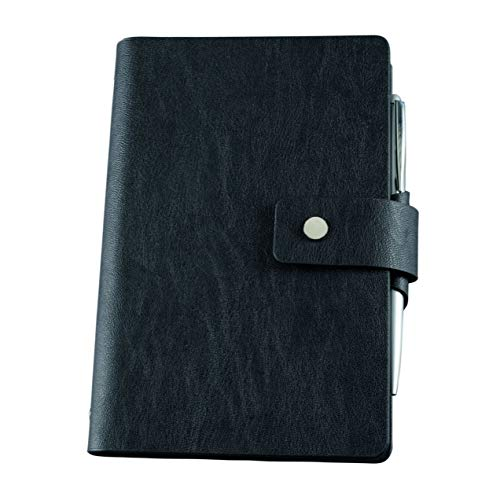 bind 16800 Notitieboekje met ringmechanisme A6 van imitatieleer, ringband van zwart imitatieleer, notitieboekje ca. 19 x 13,5 x 2, 5 cm, kunstleren etui met gelinieerd notitieblok.