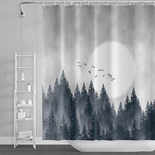 DORCEV Duschvorhang mit winterlichem Nebelwald, Natur, Wald, Schwarz, Mondlicht, Nebel, Rauch, Bäume, Wolken, Duschvorhang, wasserdicht, Polyester für Badezimmer, Stoff mit Haken, 183 x 183 cm