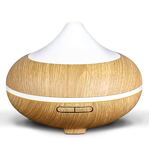 Hianjoo Compatible Humidificador Ultrasónico Aromaterapia 500ml, Difusor de aceites esenciales, Ambientador con 7-Color LED de luz para luminoterapia en el Hogar, Oficina, Spa, Bebé,(Grano de Madera)