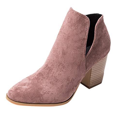 WUSIKY Geschenk für Frauen Stiefeletten Damen Bootsschuhe Boots Fashion Boots Square High Heels Spitzen Kurzrohrstiefel Schuhe (Lila, 40 EU)
