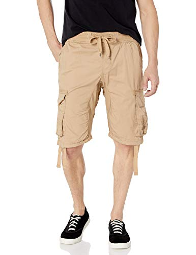 Southpole Big and Tall Men's Jogger Shorts with Cargo Pockets in Solid and Camo Colors, Deep Khaki(New), 4X-Large
