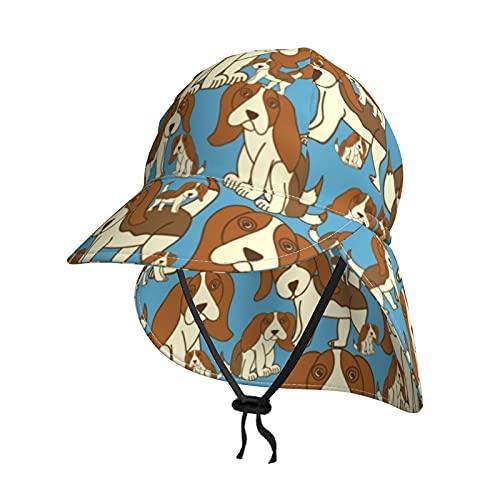 Cocoal-ltd Sombrero de sol para niños con protección UV para bebés con solapa de verano UPF50+, sombrero de playa para niños y niñas, gorro de pesca, beagles de bebé en color azul