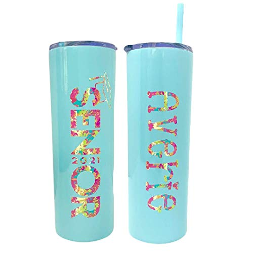 Personalized Senior 2021 Insulated Stainless Steel Seafoam Tumbler with Summer Melt Hot and Matching Reusable Straw