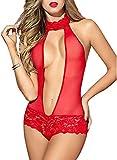 EVBEA Lencería Mujer Erótica Rojo Teddy Bodysuit Open Halter Chemise Nightwear...