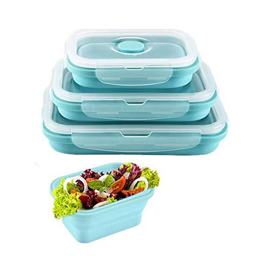 Ousyaah Fiambrera de Silicona Plegable [3 Pack] Recipientes de Silicona para Alimentos Almacenamiento de Alimentos para Microondas, Congelador y Lavavajillas, Sin BPA (Azul)