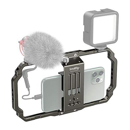 SmallRig Smartphone Video Rig, Fotografie Filmerstellung mit 2 Cold Shoe Mounts Handy Video Stabilisator für Video Projektor videomaker für iPhone 11 Pro/ 11 Max X 8/7 Plus Samsung -2791