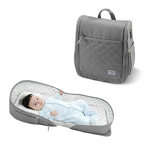 SUNVENO 4 in 1 Wickeltasche, Wickelrucksack mit Babybett, Multifunctional Babynest, Reisebett für Babys, Geschenk für Baby, 0-12 Monate, Grau