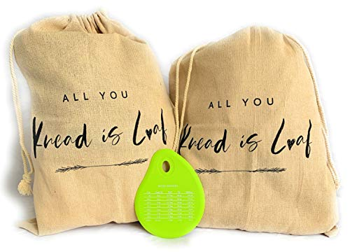 Crazy Chicken Lady - Linen Bread Bags for Homemade Bread - Reusable Food Storage Bags - Pack of 2 Fresh Bread Linen Bread Bags - Bread Makers Bowl Scraper included.