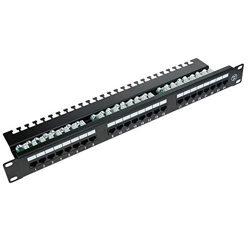 Patch-Panel Cat.5e UTP 24 RJ45 schwarz 1HE mit Kabelmanagement für Rack-Schrank - RackMatic