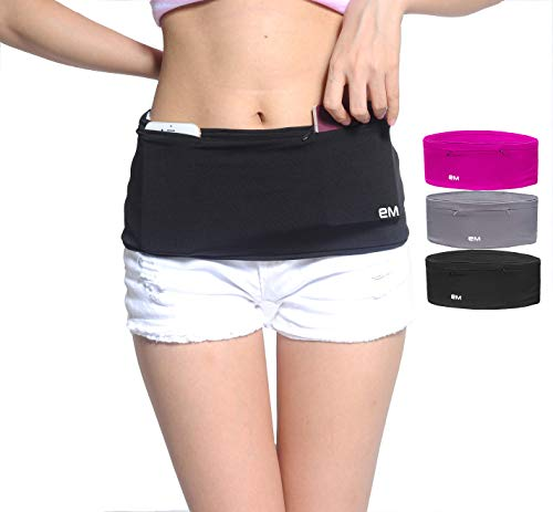 Eazymate Fashion Running Belt - Travel Money Belt with 2 Zipper Pockets Fit All Smartphones and Passport - Black-L