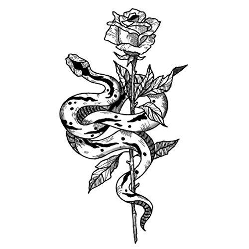 EROSPA® Tattoo-Bogen temporär / Sticker - Schlange Rose - Wasserfest