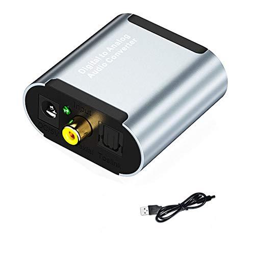 Convertidor de Audio Digital a analógico Fibra óptica coaxial Audio Digital a analógico AUX 3.5 mm Jack RCA L/R Convertidor SPDIF Decodificador de Audio Digital Amplificador (Gris)