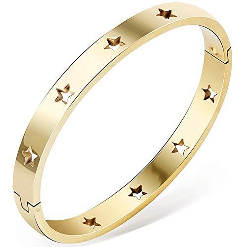Jude Jewelers - Pulsera clásica de Acero Inoxidable con Cierre Abierto de Estrellas