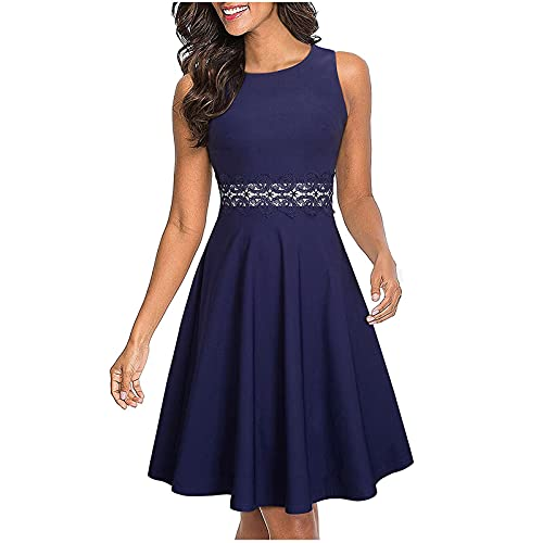 Women s Sleeveless Elegant Floral Lace Embroidery Flared A-Line Swing Casual Party Cocktail Dresses Dinner Wedding Prom