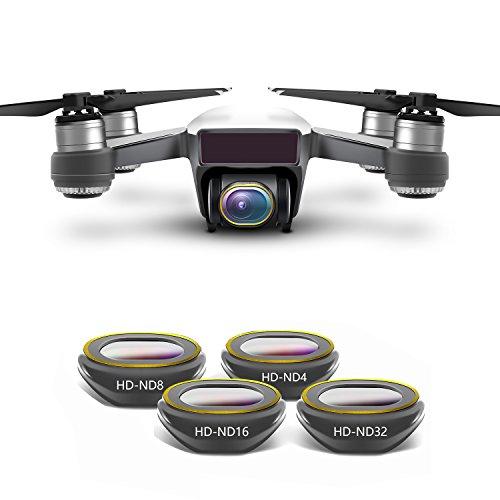 Rantow Kit Filtro Obiettivo HD Multi-Rivestito per Fotocamera Gimbal per DJI Spark Drone, Disegno Click-on Non Sono necessari Utensili Neutral Density UV CPL Polarizzatore ND4 ND8 ND16 ND32 (4-Pack)